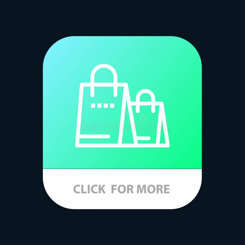 Bag, Handbag, Shopping, Shop Mobile App Button. Android and IOS Line Version vector illustration