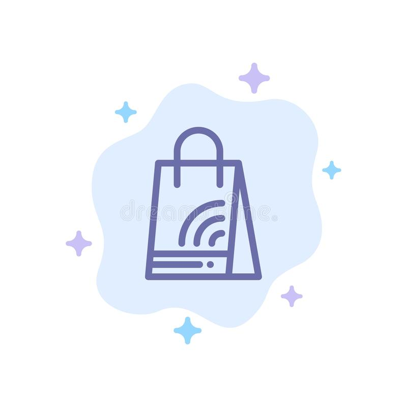Bag, Handbag, Wifi, Shopping Blue Icon on Abstract Cloud Background royalty free illustration