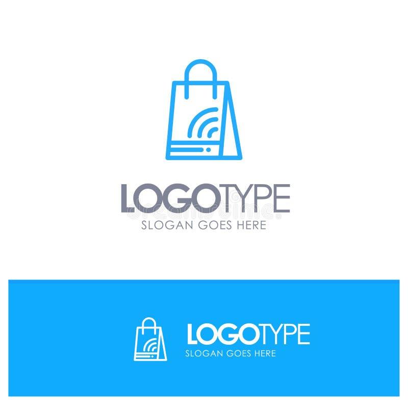 Bag, Handbag, Wifi, Shopping Blue outLine Logo with place for tagline stock illustration