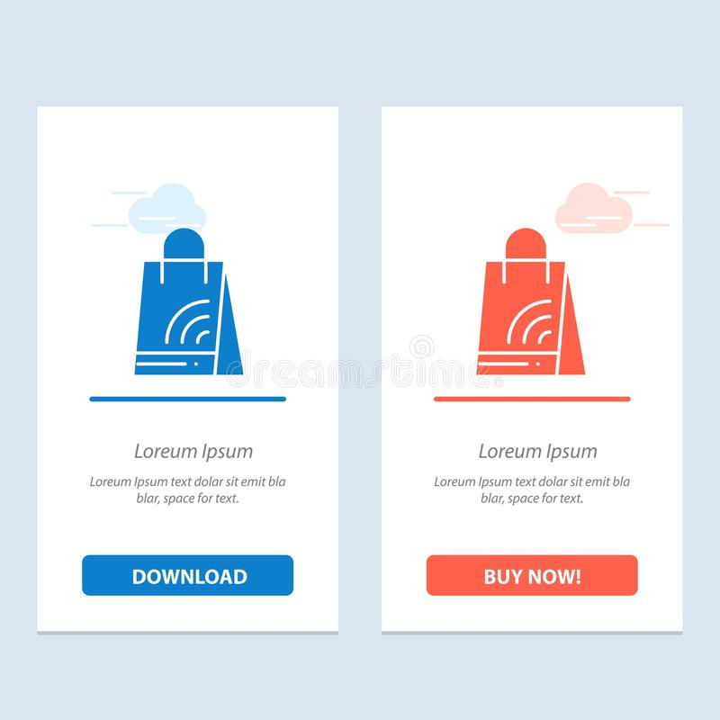 Bag, Handbag, Wifi, Shopping  Blue and Red Download and Buy Now web Widget Card Template royalty free illustration