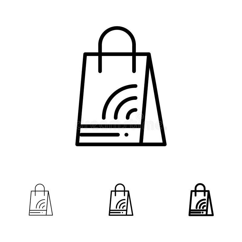 Bag, Handbag, Wifi, Shopping Bold and thin black line icon set vector illustration