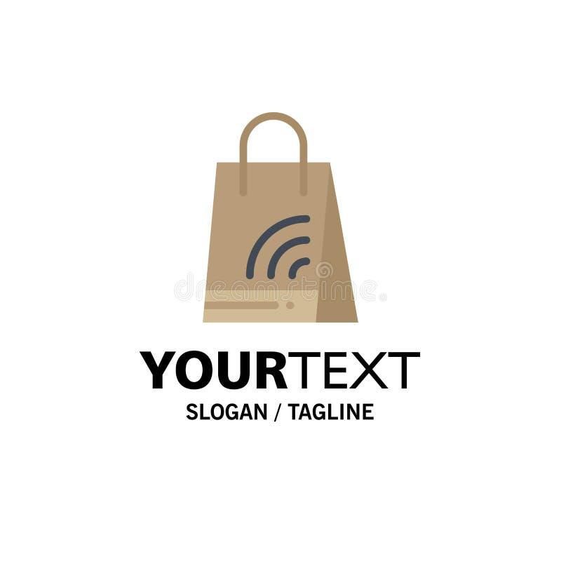 Bag, Handbag, Wifi, Shopping Business Logo Template. Flat Color stock illustration