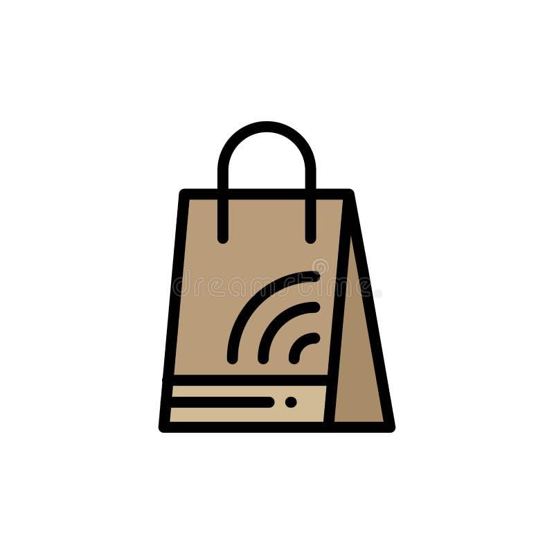 Bag, Handbag, Wifi, Shopping  Flat Color Icon. Vector icon banner Template stock illustration