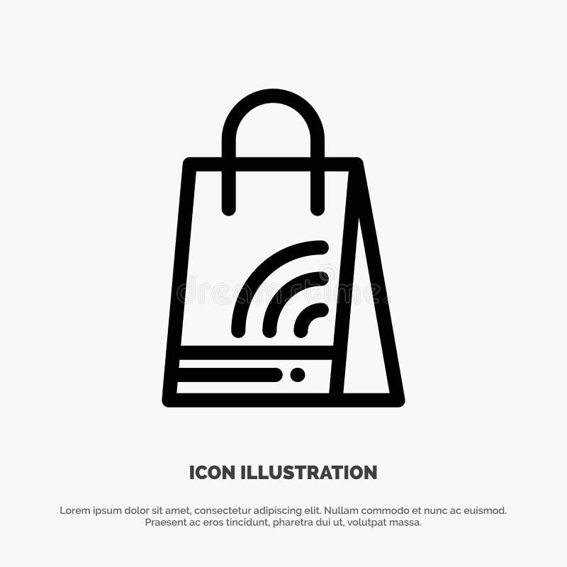 Bag, Handbag, Wifi, Shopping Line Icon Vector royalty free illustration