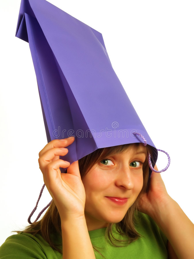 Download Bag on the head stock photo. Image of brown, face, dress - 4835578