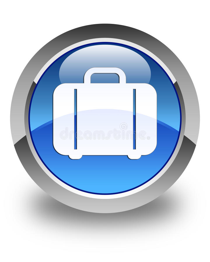 Bag icon glossy blue round button stock illustration