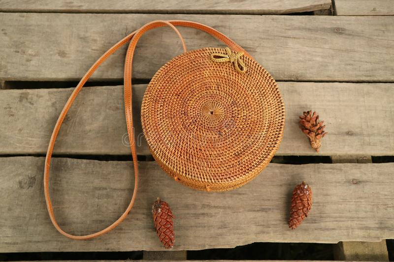 Beautiful Vintage Rattan Bag for Woman royalty free stock photos