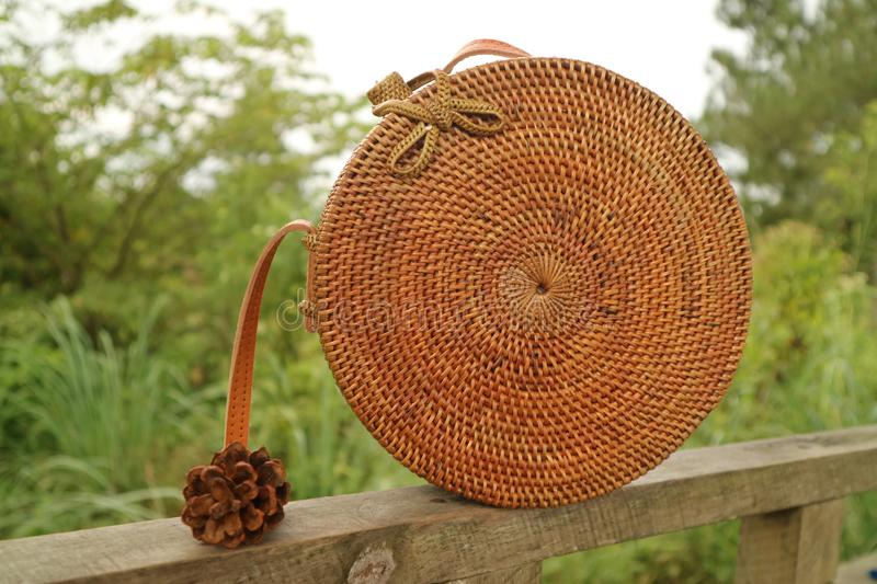 Beautiful Vintage Rattan Bag for Woman royalty free stock photo