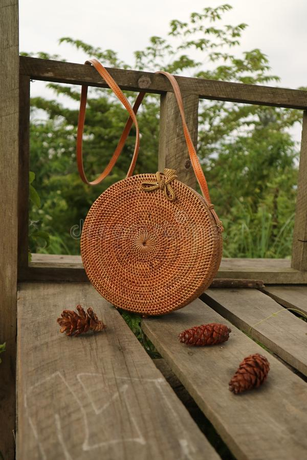 Beautiful Vintage Rattan Bag for Woman royalty free stock images