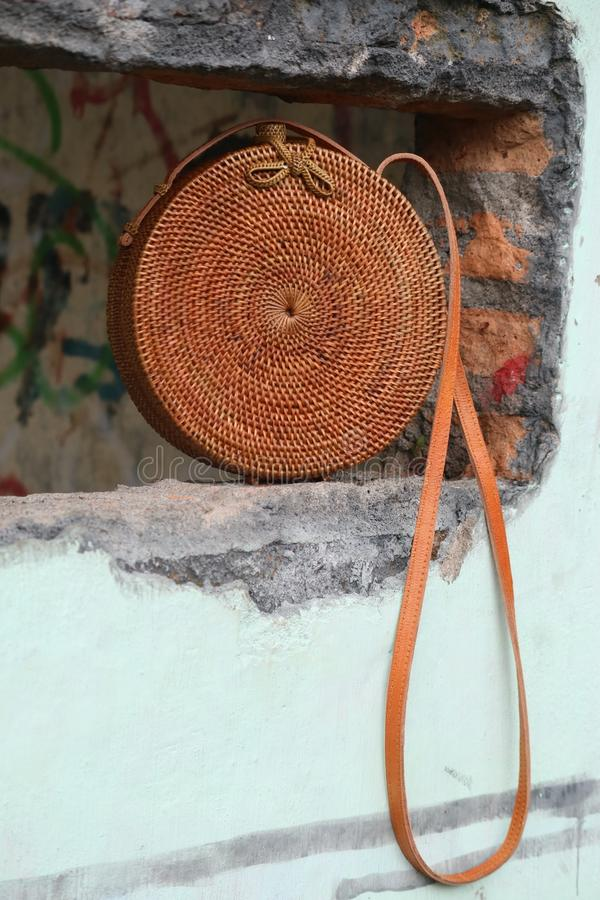 Beautiful Vintage Rattan Bag for Woman royalty free stock image