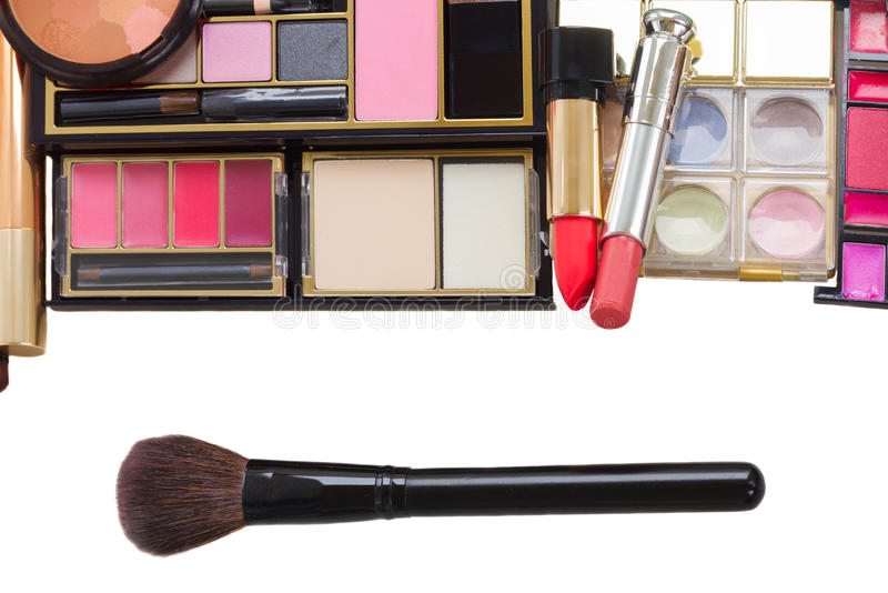 Bag with make up products royalty free stock image