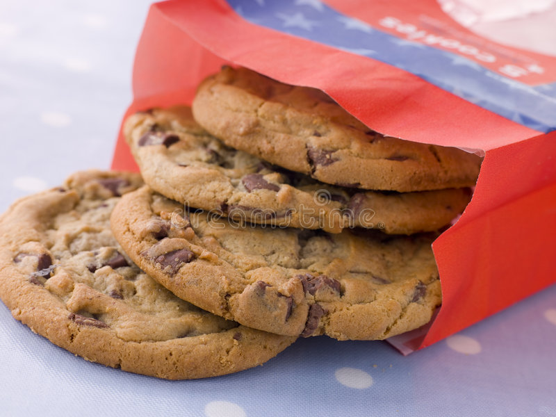 Bag Of Milk Chocolate Chip Cookies royalty free stock images