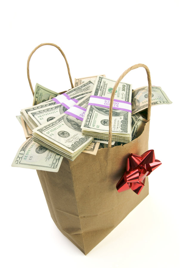 Bag of Money. Isolated on a White Background royalty free stock image