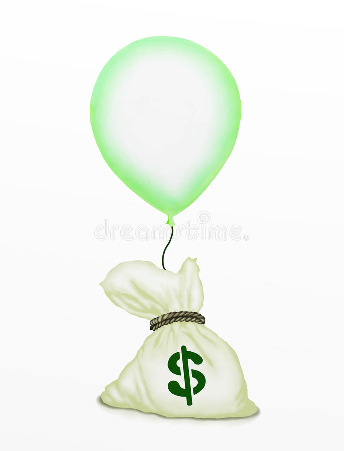 A Bag Of Money Flying Up By A Green Balloon Royalty Free Stock Image