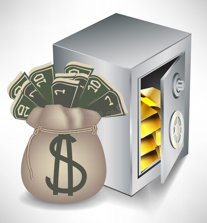 Bag of money and safe with gold