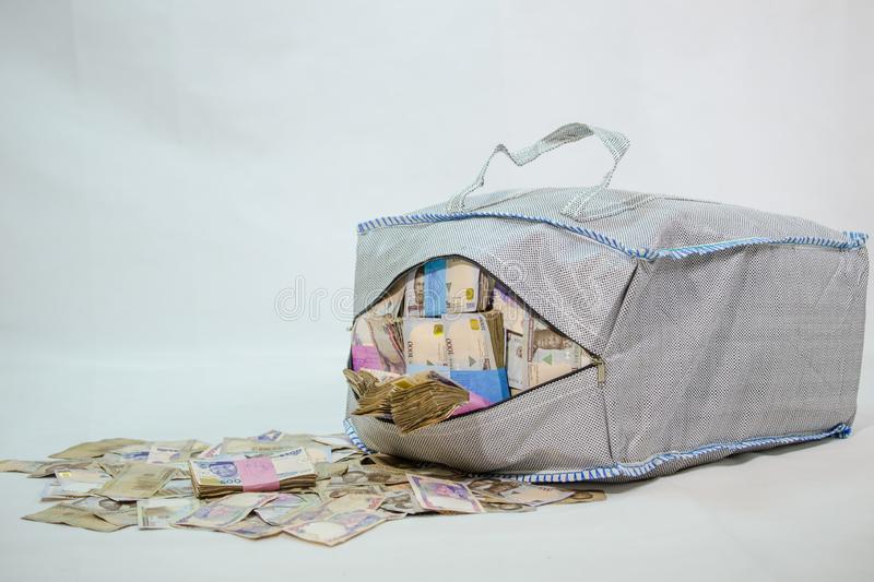 Bag of Naira note Cash and local currencies. Bags of Naira Cash in local currencies royalty free stock photography