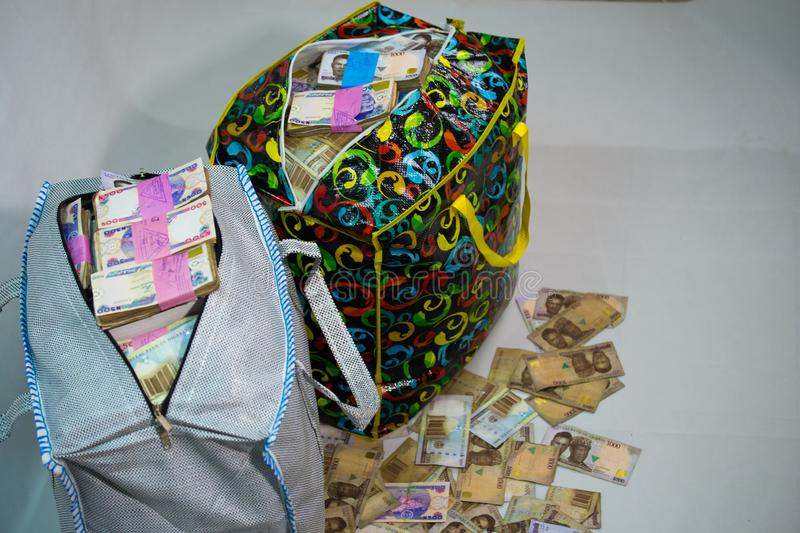 Bag of Naira note Cash and local currencies. Bags of Naira Cash in local currencies royalty free stock image