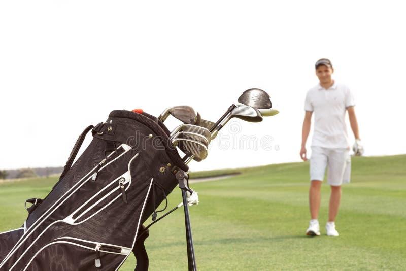 Bag with niblicks on the golf course. A bag with niblicks on the golf course royalty free stock photo