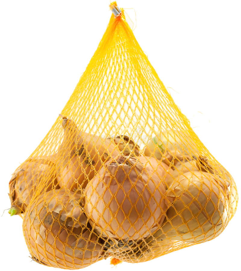 Bag of onions stock photo