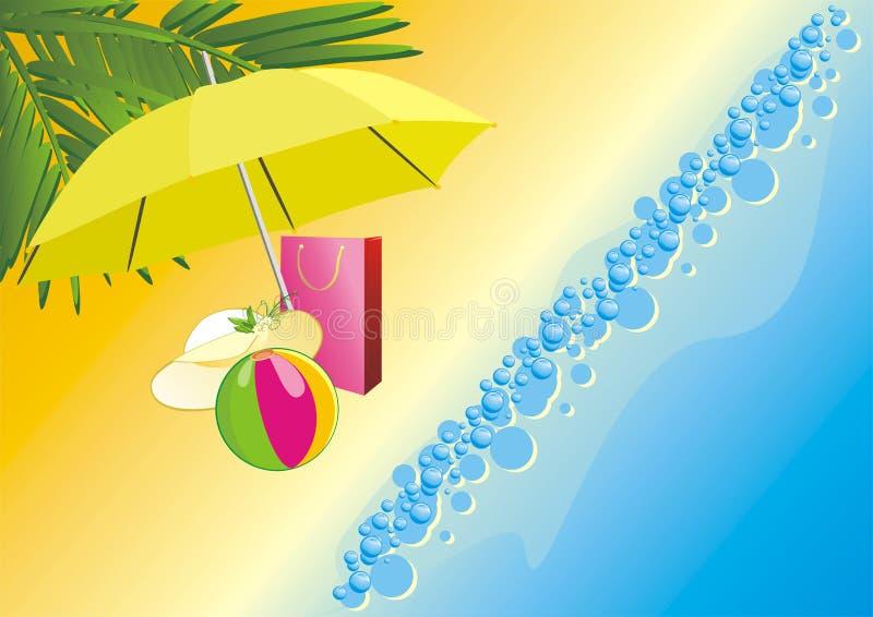 bag paraplyet för bollstrandhatten under royaltyfri illustrationer