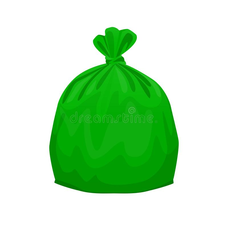 Bag plastic waste green isolated on white background, green plastic bags for waste separation, plastic bag for garbage waste royalty free illustration
