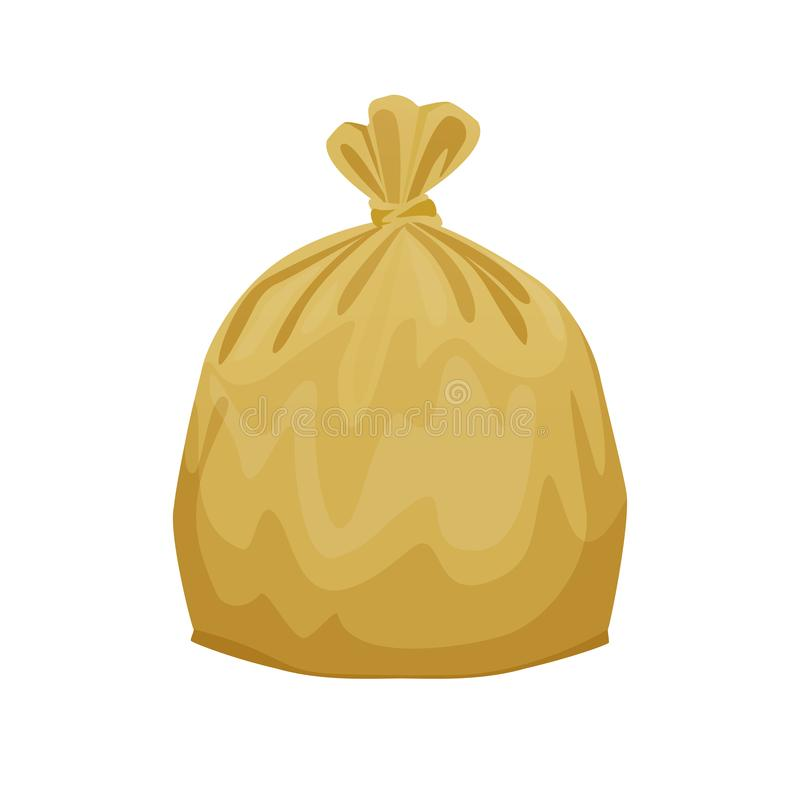Bag plastic waste yellow gold isolated on white background, golden plastic bags for waste separation, plastic bag for garbage royalty free illustration