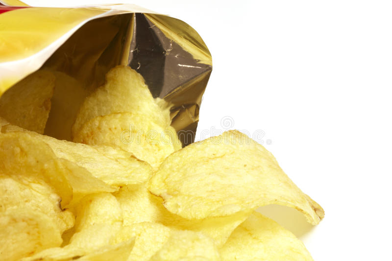 Bag of Potato Chips stock images