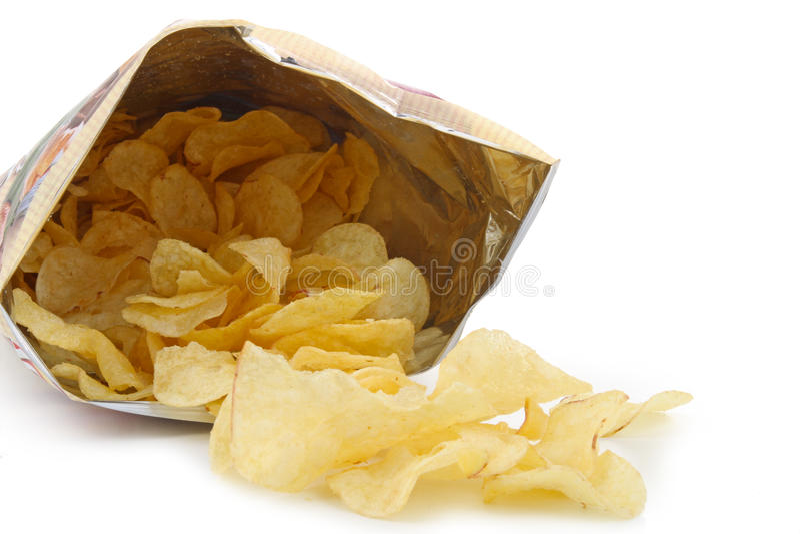 Bag of potato chips stock photos