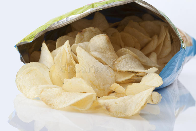 Bag of potato chips stock photo