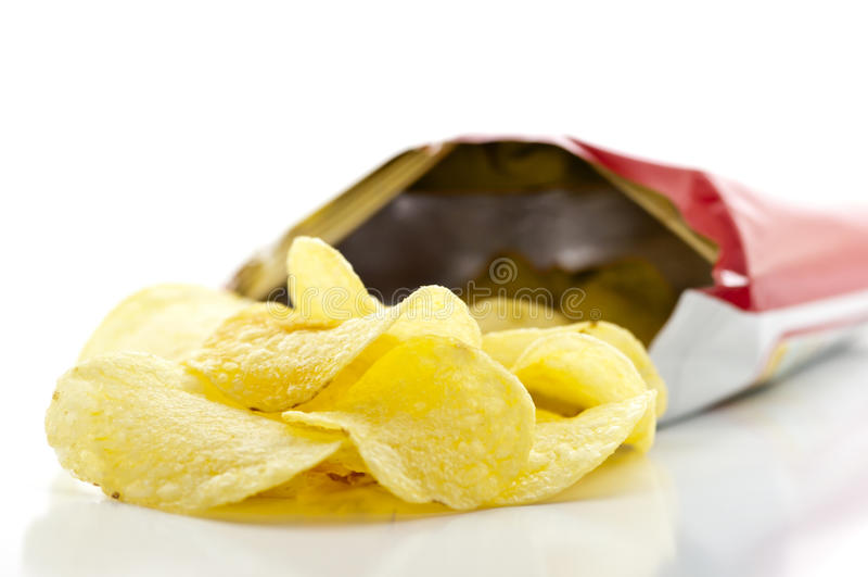 Bag of Potato Chips. A Bunch of Potato Chips stock photo