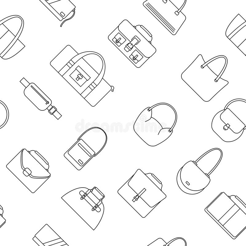 Bag, purse, handbag and suitcase simple icons seamless pattern. vector illustration