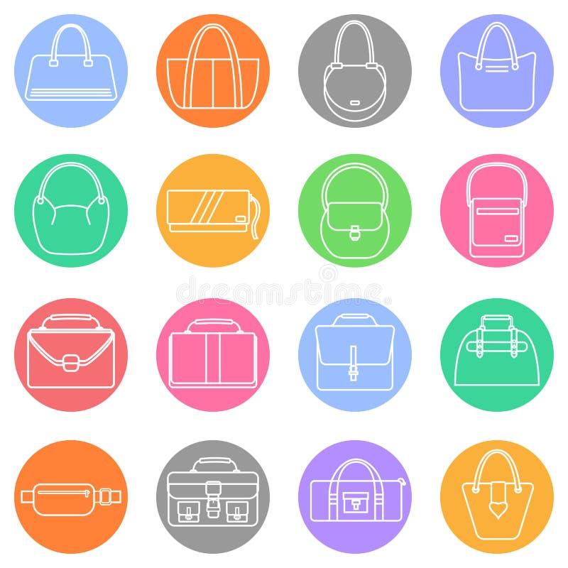 Bag, purse, handbag and suitcase simple icons set. royalty free illustration