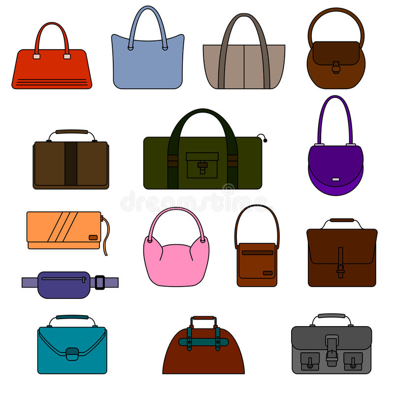 Bag, purse, handbag and suitcase simple icons set. vector illustration