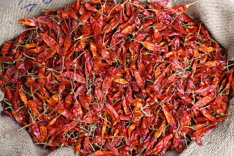 Bag of red pepper in Udaipur market, India stock photos