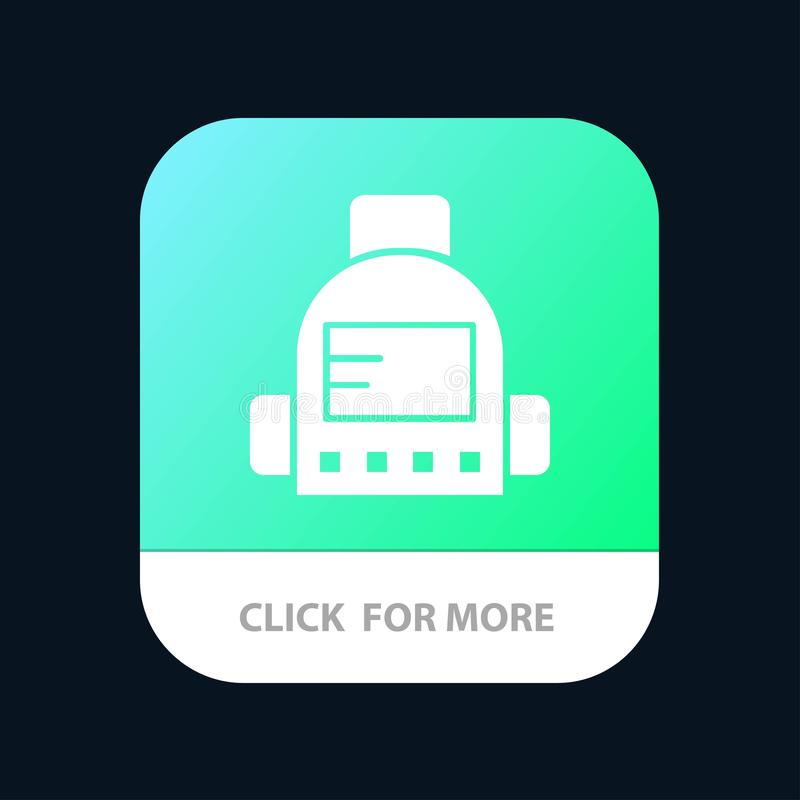 Bag, School, Education Mobile App Button. Android and IOS Glyph Version vector illustration