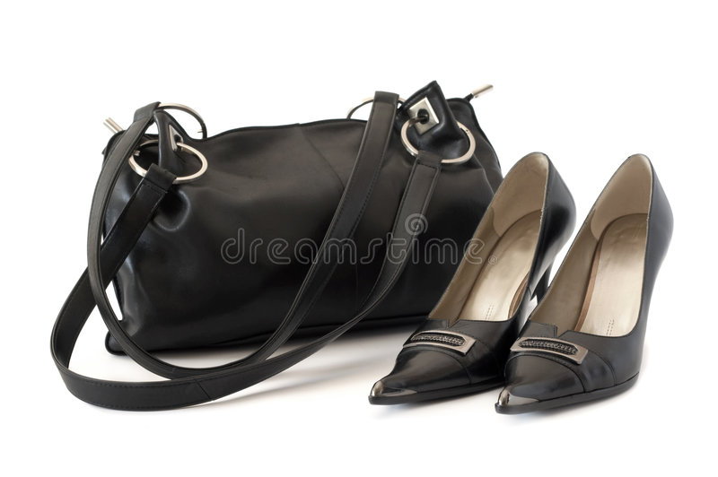 Bag and shoes isolated royalty free stock photo