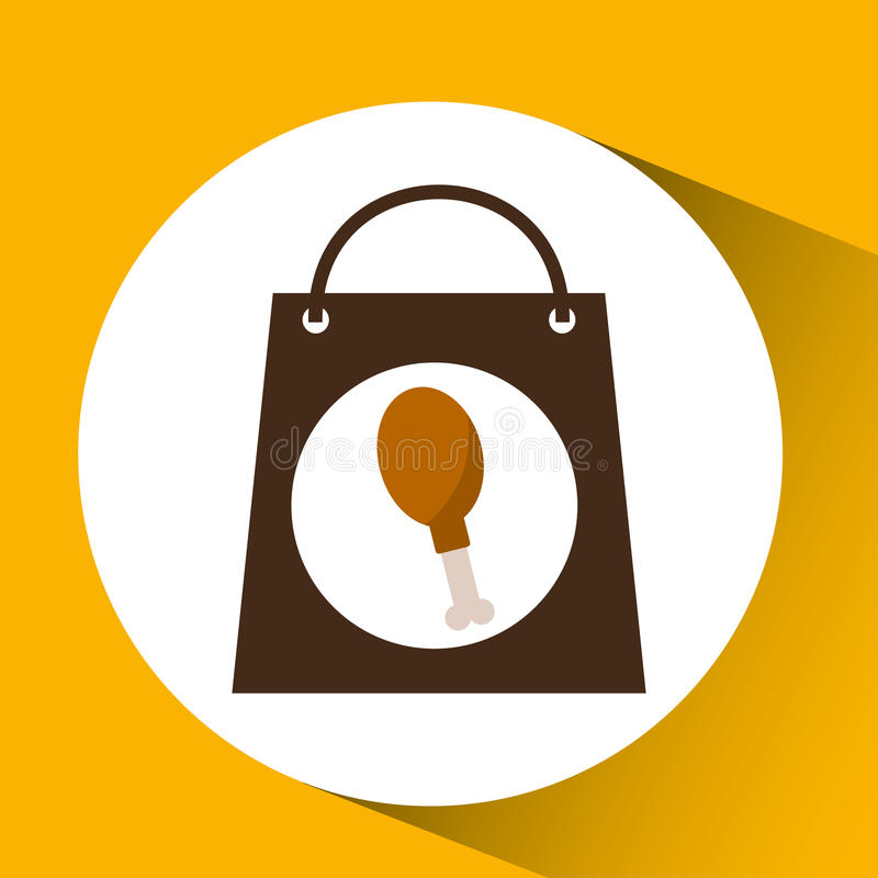 Bag shopping chicken thigh icon royalty free illustration