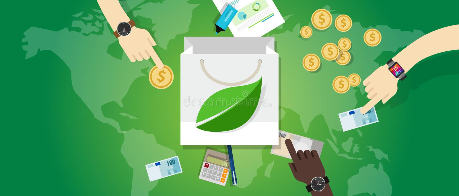 Bag shopping guilt free green friendly consumption buy eco environment concept royalty free illustration