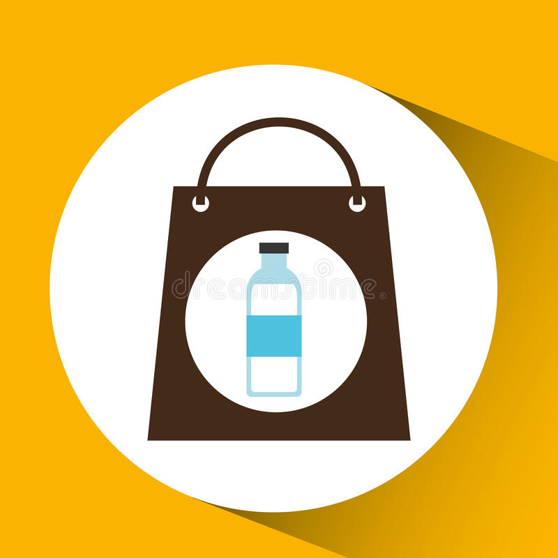 Bag shopping water bottle icon vector illustration