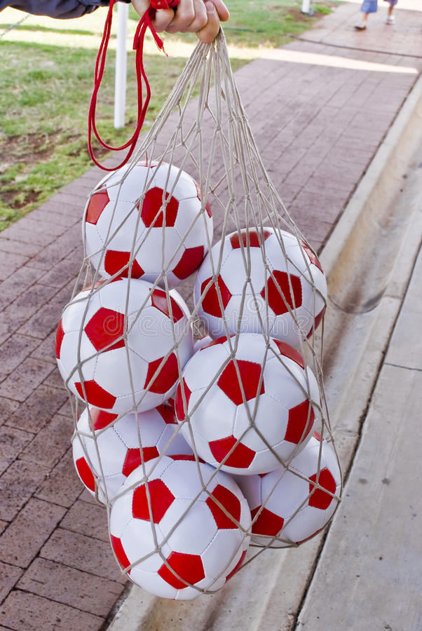 Bag Of Soccer Balls stock photography