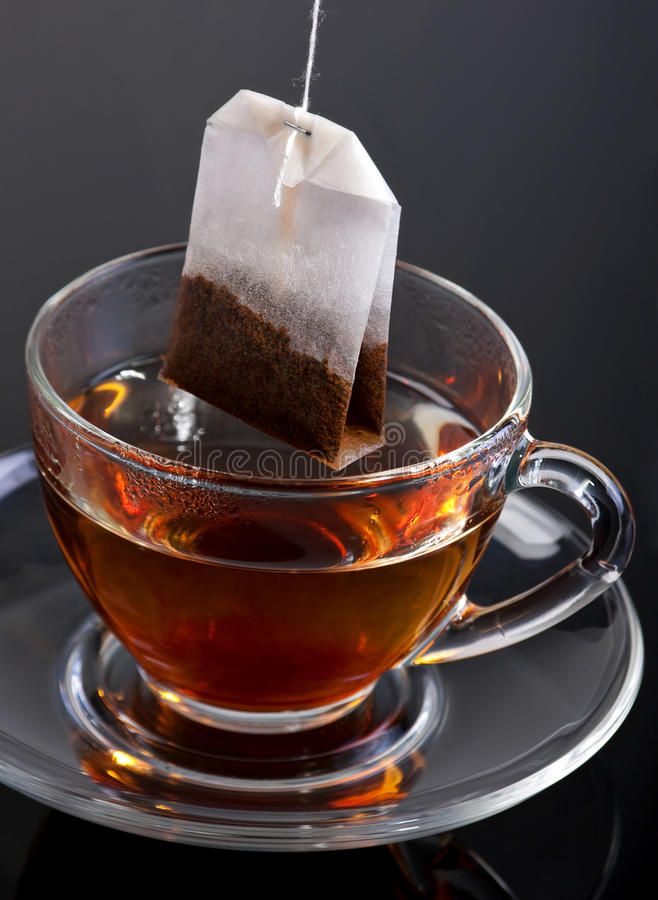 Download Bag tea and glass cup stock photo. Image of saucer, vertical - 13736830