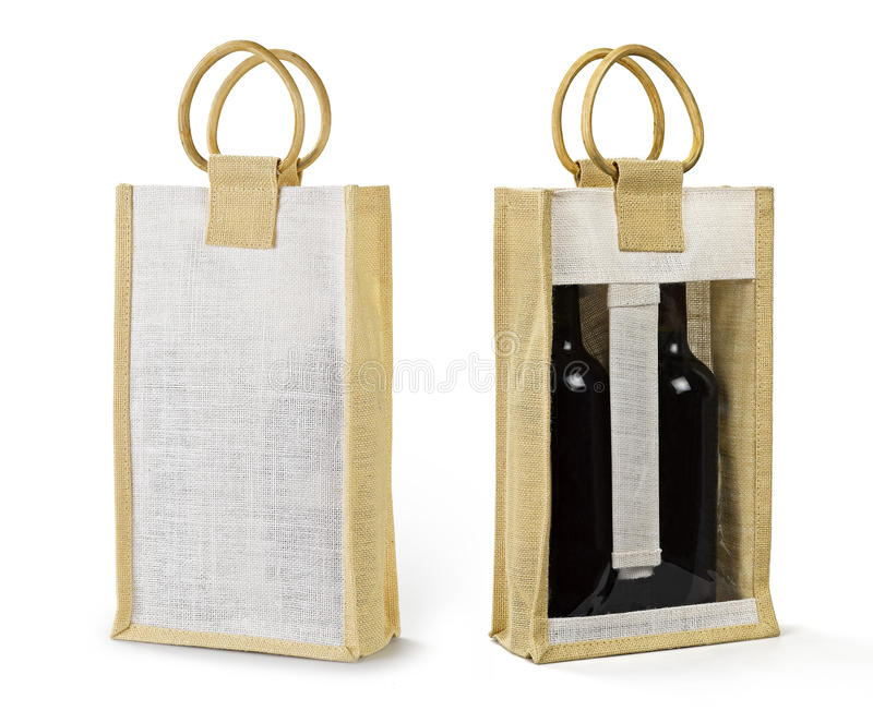 Bag for wine bottle royalty free stock photos