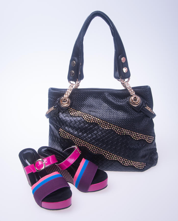 bag. women bag and fashion shoe on a background. stock photo