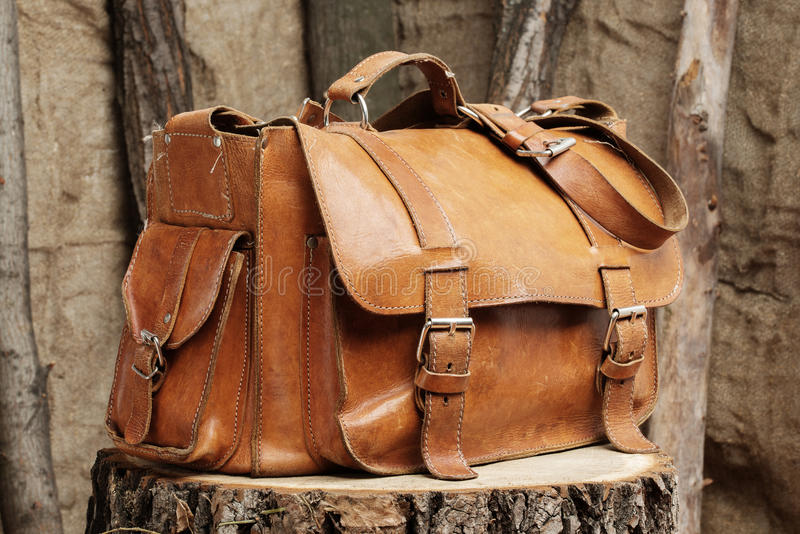 Bag on wooden background stock photo
