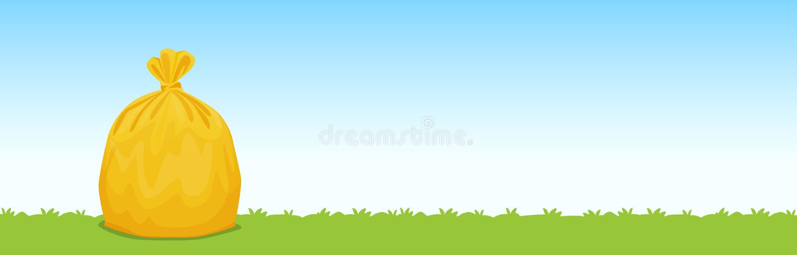 Bag yellow plastic garbage on the grass blue sky background, garbage bags for waste, pollution plastic bag waste, 3r ad, waste stock illustration