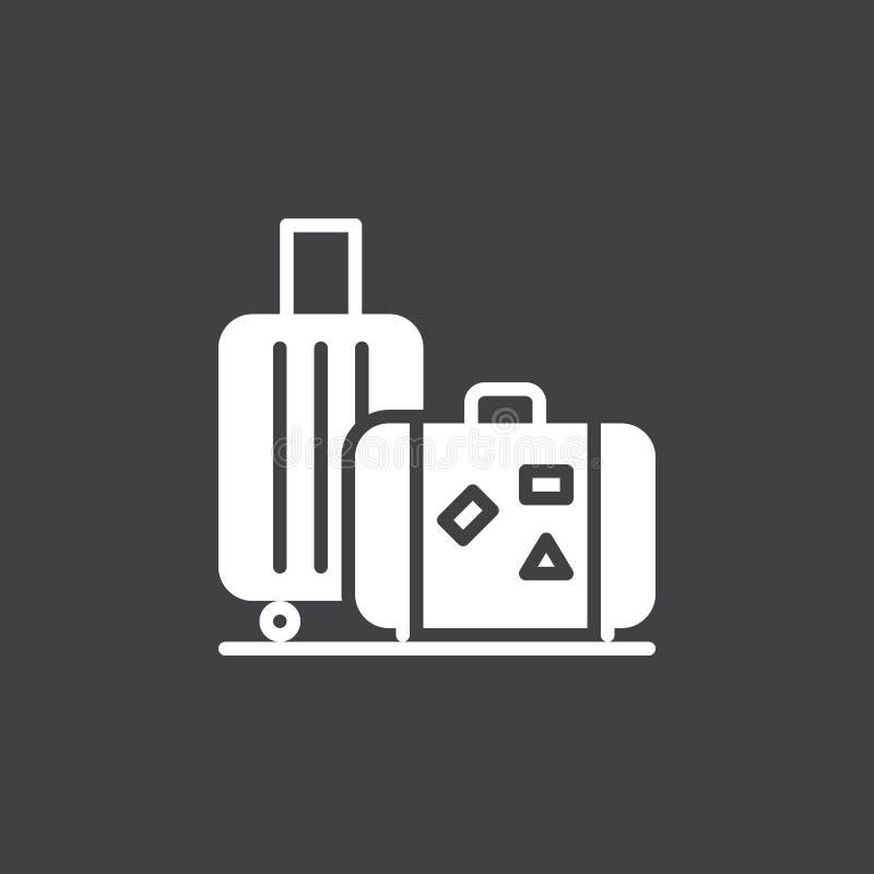Bagaż, bagaż ikony wektor, wypełniający mieszkanie znak, stały biały piktogram odizolowywający na czerni ilustracja wektor