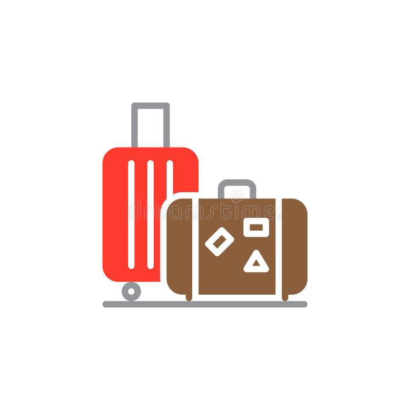 Bagaż, bagaż ikony wektor, wypełniający mieszkanie znak, stały kolorowy piktogram odizolowywający na bielu ilustracji
