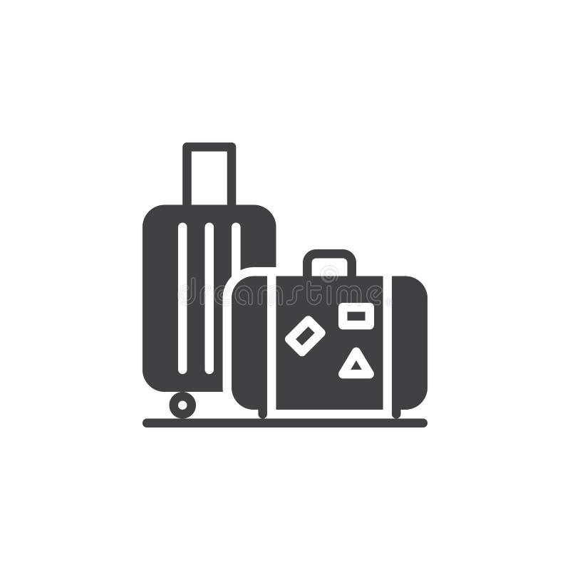 Bagaż, bagaż ikony wektor, wypełniający mieszkanie znak, stały piktogram odizolowywający na bielu ilustracji