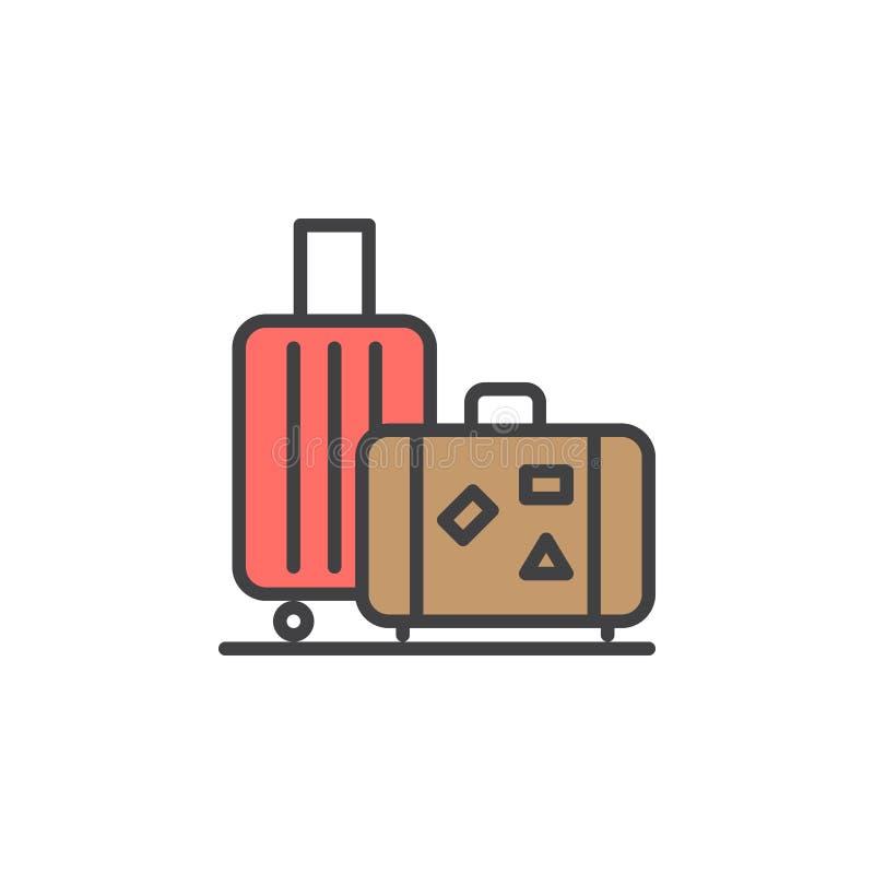 Bagaż, bagaż kreskowa ikona, wypełniający konturu wektoru znak, liniowy kolorowy piktogram na bielu ilustracji