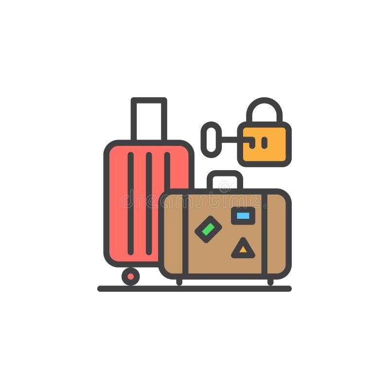 Bagaż, bagażu magazynu linii ikona, wypełniający konturu wektoru znak, liniowy kolorowy piktogram odizolowywający na bielu royalty ilustracja